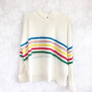 NEW cream multicolor stripe hooded sweater 3x